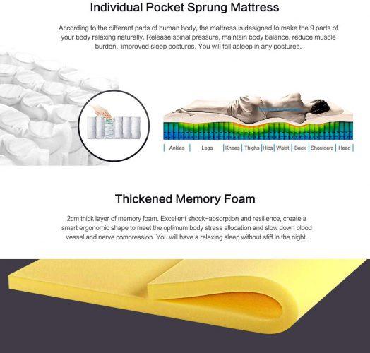 HomyLink Natural Filling Pocket Sprung Memory Foam 9-Zone