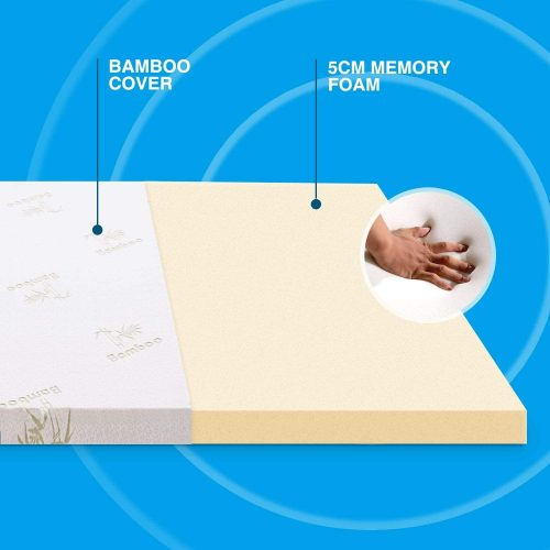 Noffa Memory Foam Mattress Topper with Ultra Soft Removable Cover Review 1